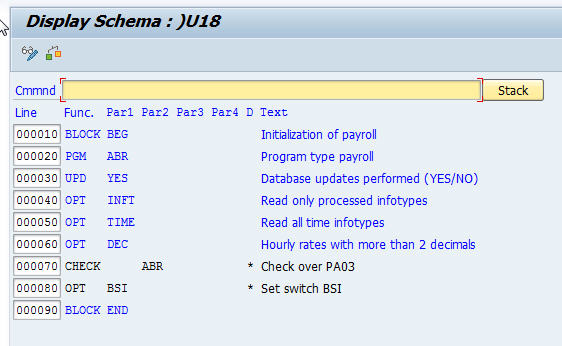 and thats all you need to do if you are testing use schema u01 and in production use u00 all your configuration for the payroll calculation will be